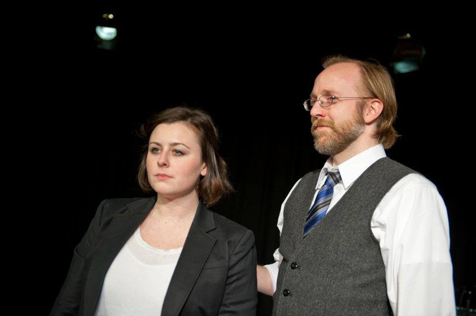 Production photo of Bridgette Hayes (Veronica) and Bob Mussett (The Salesman) by Rachel Kurnos.