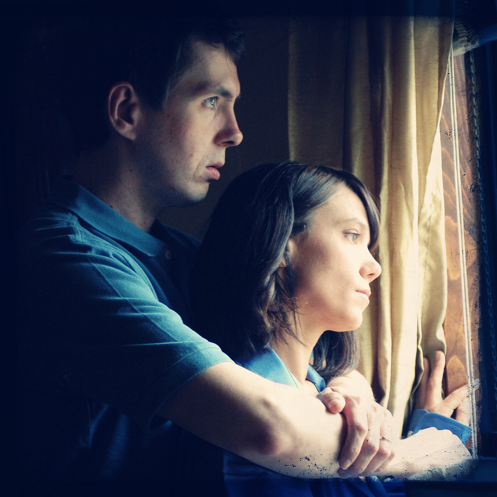 Promotional photo of E. Christopher Clark (Jake) and Elizabeth Locke (Andrea) by Kathleen Cavalaro.