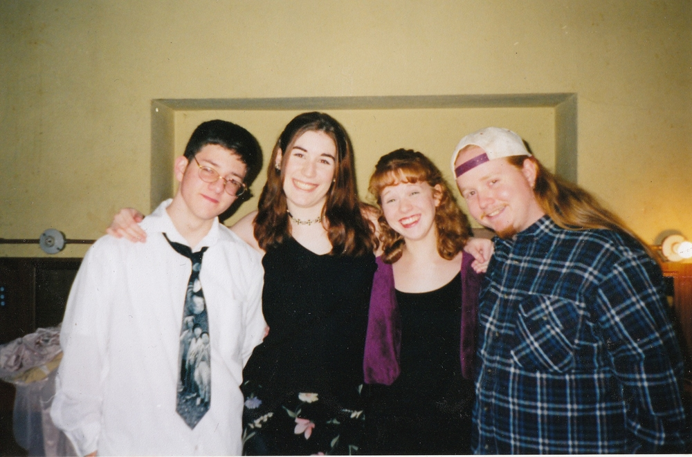 The cast of A Lick and a Promise. From left to right: Robert DaPonte (Tim), Robyn Blanchard (Veronica), Amanda Damstra (Tracy), Chris Larsen (Andy).