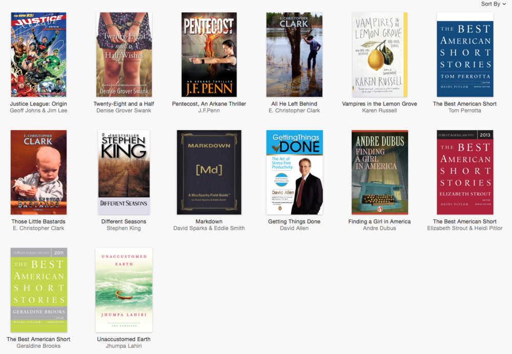 Some of the books on my iBooks bookshelf at the moment.