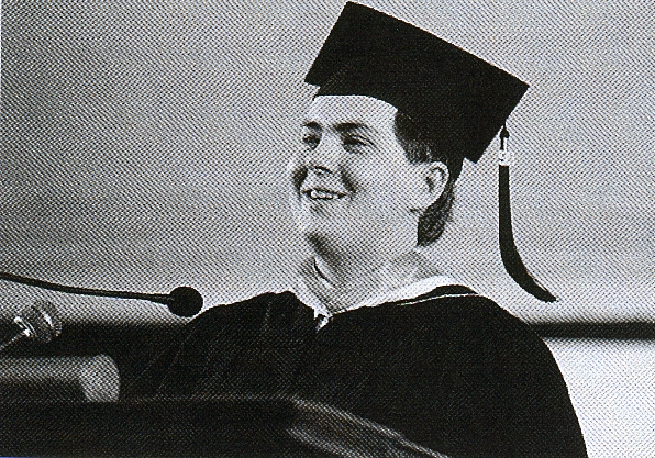 The author delivering his college's student commencement address, May 1999.