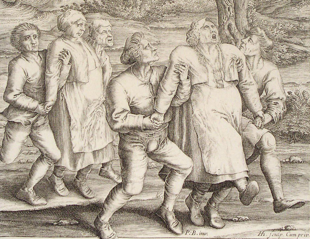 Detail from    a 1642 engraving by Hendrik Hondius   , based on Peter Breughel's 1564 drawing of a dance epidemic occurring in Molenbeek that year (via    The Public Domain Review   )
