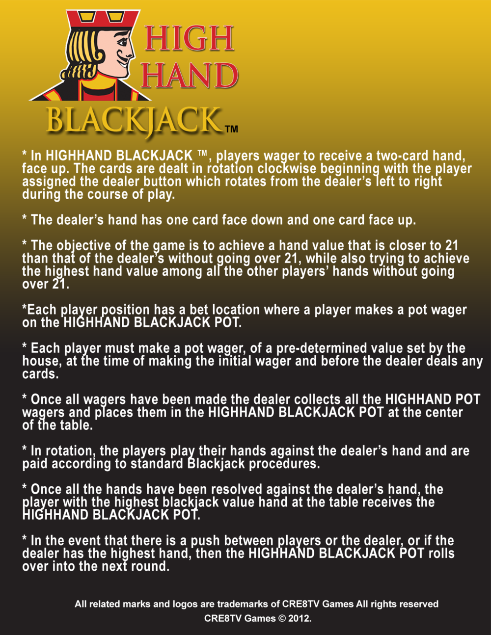 HighHand Blackjack Game Sheet