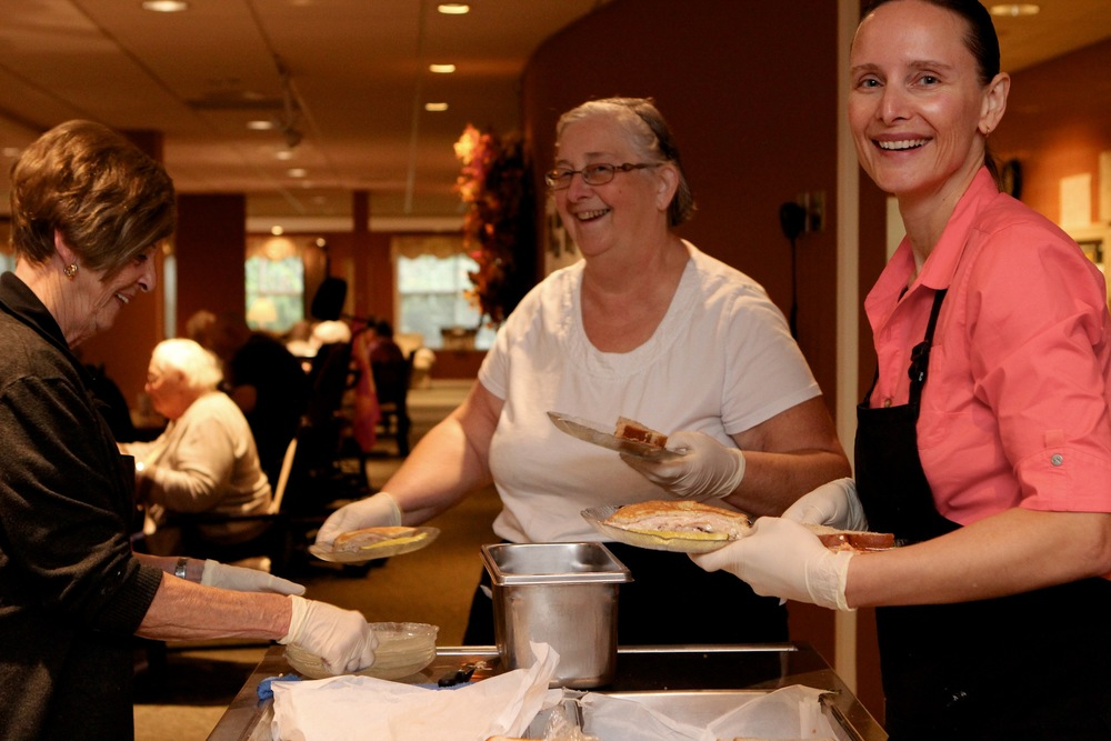 (left to right) Lynn, Rose, and Alvina prepare and serve countless delicious meals in our dining room.