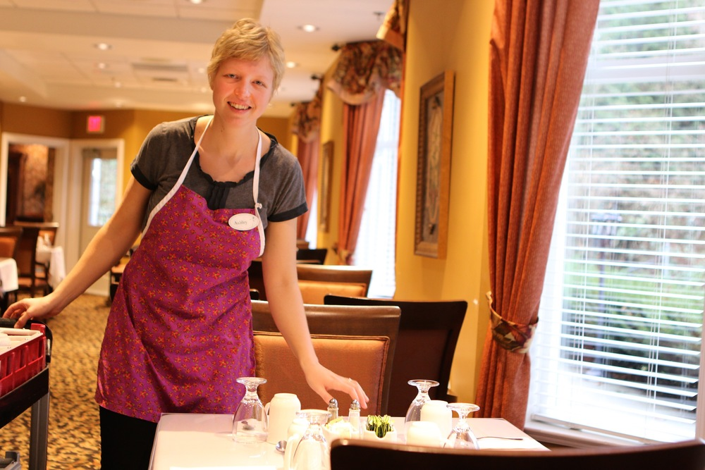 Ashley and our dining assistants always make sure that the tables are clean and inviting for your next meal.