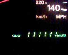111,111 miles on my car - close up of Odometer