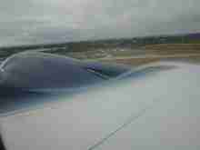 Water Vapor over a jet wing