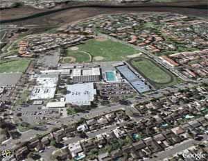 Google Earth view of Corona del Mar High School in California