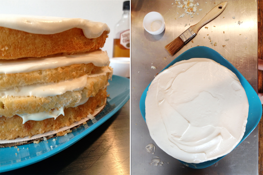 Layer the cake with SoCo and frosting