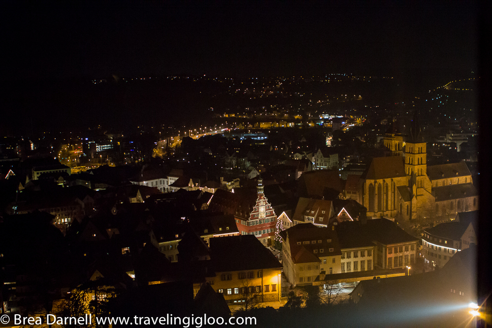 If you walk up the steps to the castle, the views of Esslingen and the market are fantastic