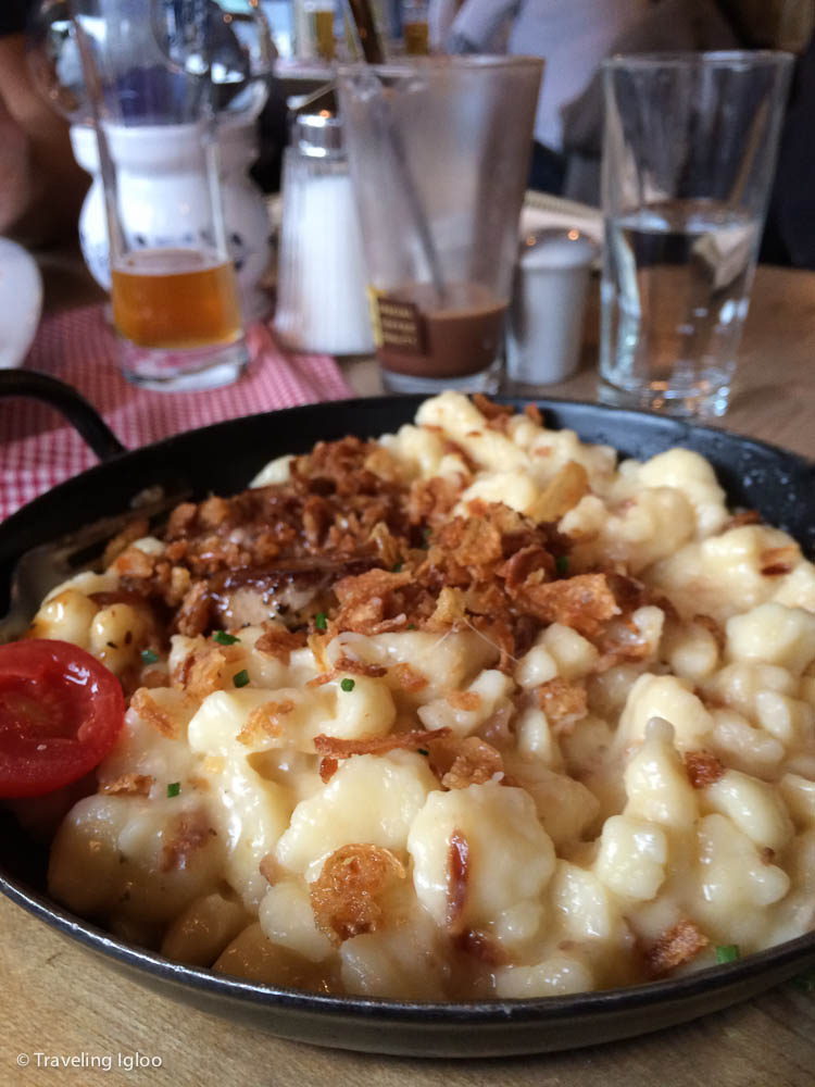 Above is käsespätzle, a delicious and very swabian dish. It's spätzle (similar to a noodle) mixed with cheese and topped with fried onions. Watch out mac and cheese!