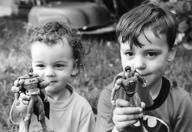 Here's a blast from my own past! My sons have their birthdays 5 days apart and they turn 19 & 16 next week! This photo was taken on Morgan's 5th birthday and we'd bought two of these figurines, one for him and one for Toby, who at 2 didn't understand the concept of waiting five days for his own birthday. We'd intended that Morgan would choose which one he wanted, Batman or Superman, but instead he gave Toby first choice ❤️ This photo will always preserve that little look of slight regret on his face (because we all know Batman is cooler) and the delight on Toby's. 😊😊❤️❤️ #batmanvssuperman #theirchildhoodinanutshell