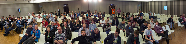 This is the audience getting ready for the presentation.