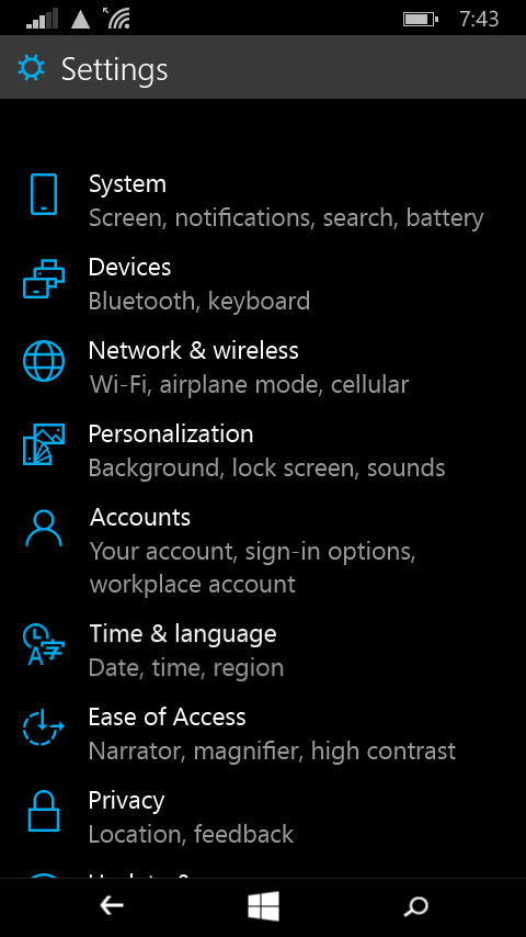 The settings screen has had a serious makeover