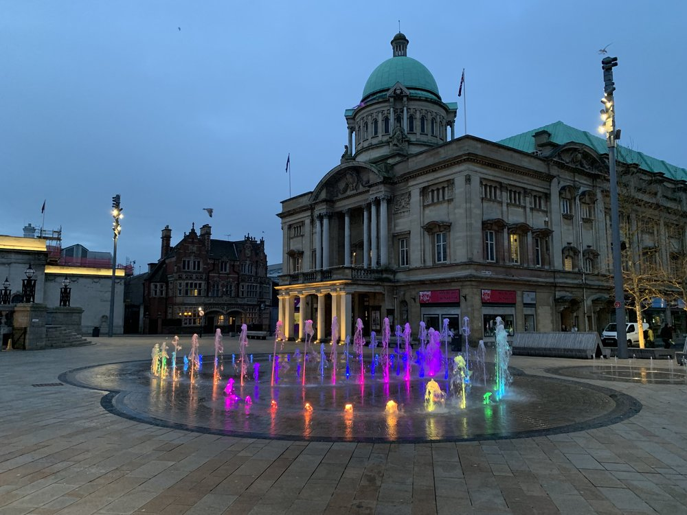 The coloured fountains in Hull city centre look lovely.