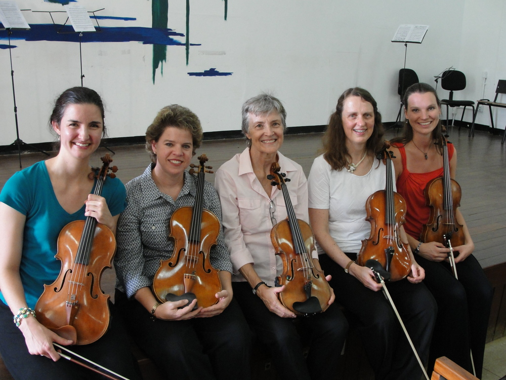 Viola professors (from left to right, Daphne, Susan, Glesse, Hella, and me)