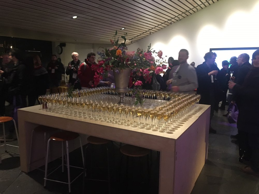 Champagne toast at the beginning of the conference.