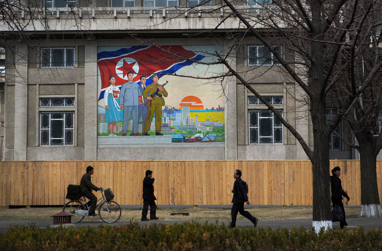 A sidewalk scene in Pyongyang, North Korea./Credit David Guttenfelder/Associated Press