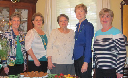 Hostesses for the meeting are pictured (l to r): Hostess Chairman Kay Davis, Wendy Naron, Pat Dampier, Carol Gallagher, and Myrna Heard. (Not pictured: Joan Alliston.)