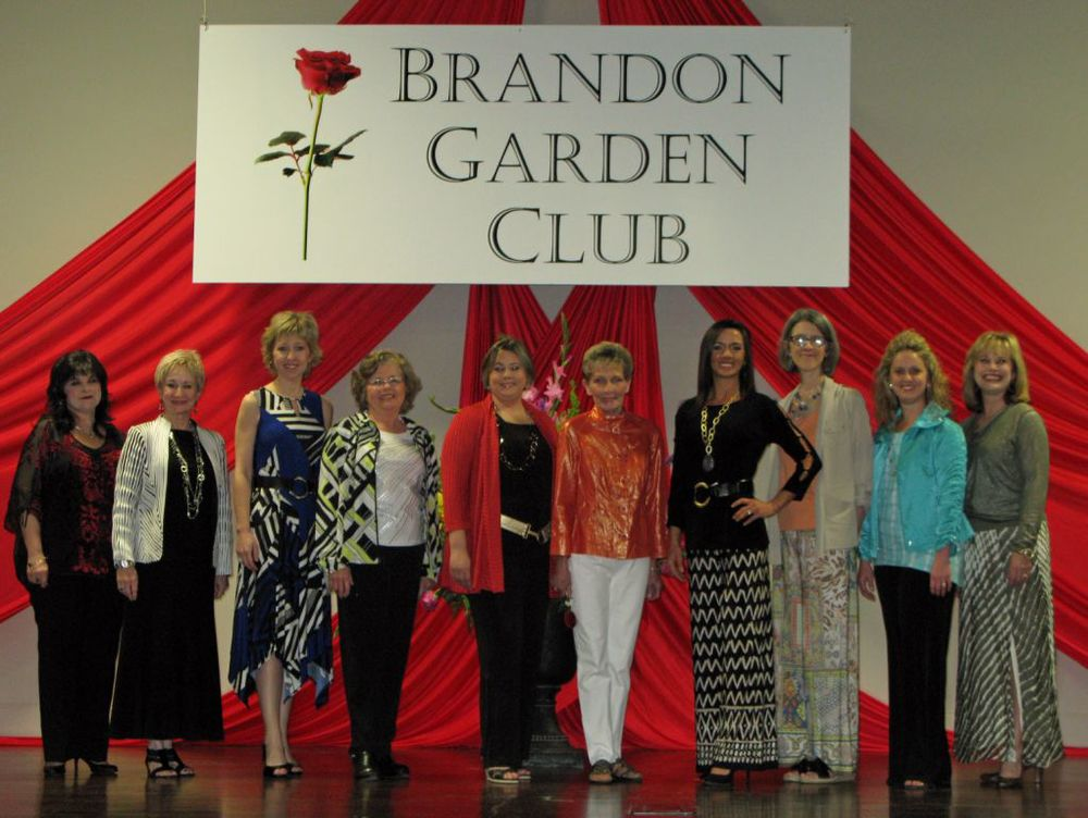 Fashion show chairman Brenda Sumrall Smith and BGC President Charla Jordan are pictured (l to r) with models Tahya Dobbs, Barbara Cook, Ashley Vaughan, Kay Davis, Amanda Tolstad, Melanie Mann, Jamie Magee, and Ruthie Guyton.