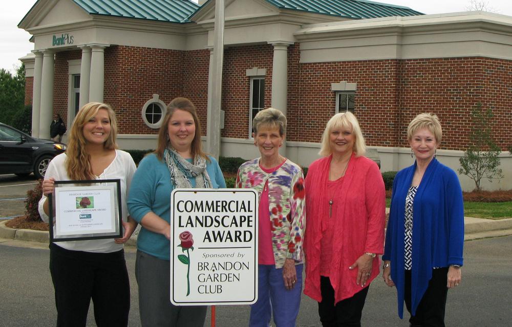 Pictured (l to r): Amber Renfroe; Bridget Lowery, BankPlus Vice President; Kay Davis, BGC Commercial Landscape Chairman; Deena Moore; and Charla Jordan, BGC President.