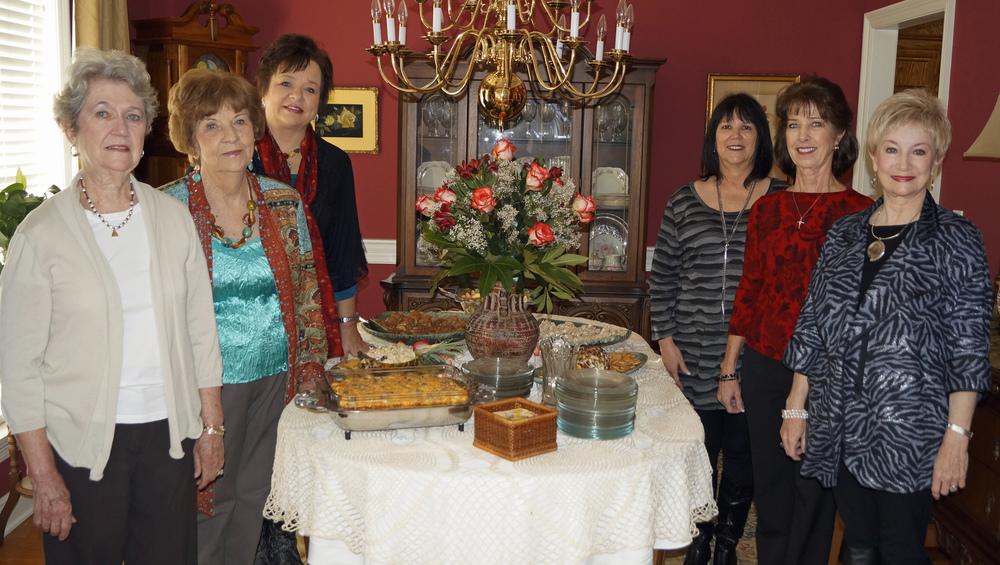Hostesses are pictured (l to r): Carol Atkinson; Ann McKay; Deborah Tucker, Hostess Chairman; Delena Hamel; Sandy Parish, and Charla Jordan, BGC President.