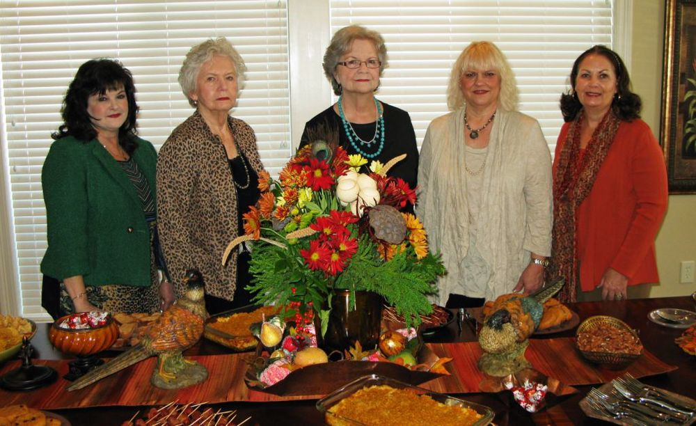 Hostesses are pictured (l to r): Hostess Chairman Brenda Sumrall Smith, Donna Bolland, Mary Ellen Stanley, Deena Moore, and Kathy Fletcher.