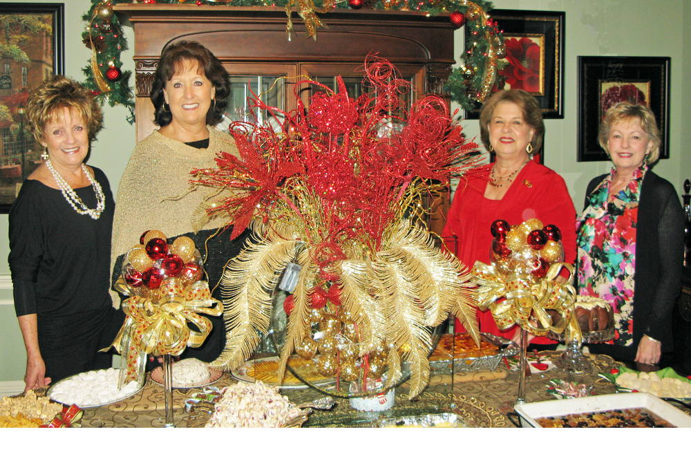 Hostesses are pictured (l to r):  Marion McKee, Hostess Chairman; Marie Lodes, Wendy Naron, and Lynn Williams.  (Not pictured:  Carol Gallagher).