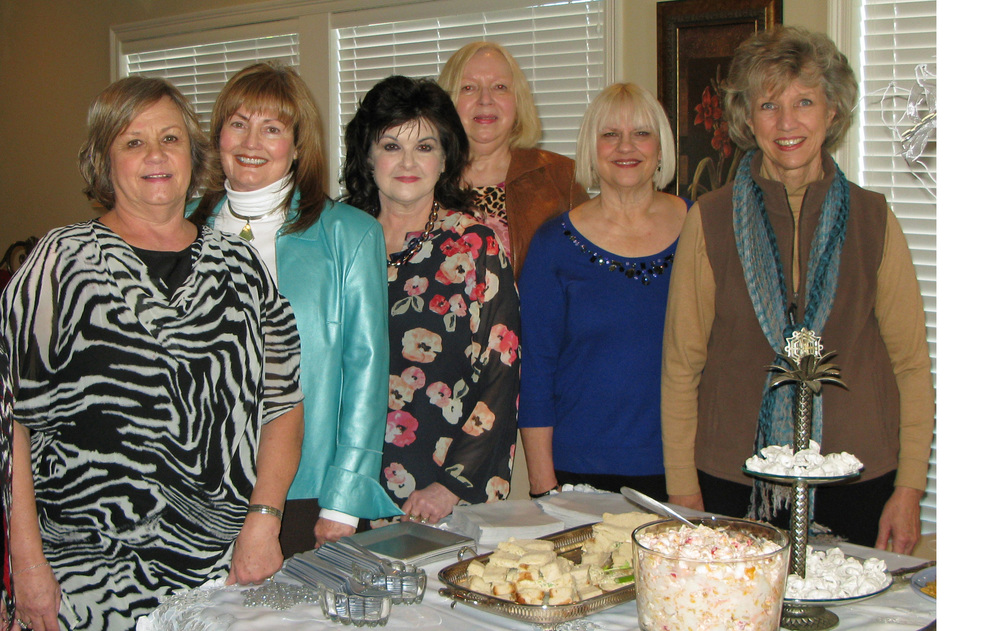 Hostesses are pictured (l to r):  Martha Powell, Hostess Chairman; Betty Bridewell; Brenda Sumrall Smith; Karein Robinson; Deena Moore; and Joan Alliston.