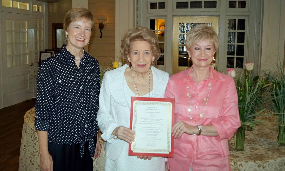 Pictured (l to r): Carol Gallagher, Scholarship Chairman; Janet McLaurin; and Charla Jordan, President.