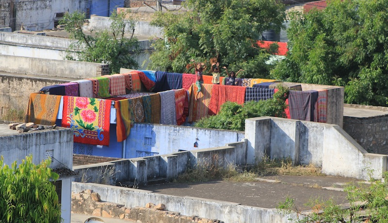 Linens out to dry after the rains.