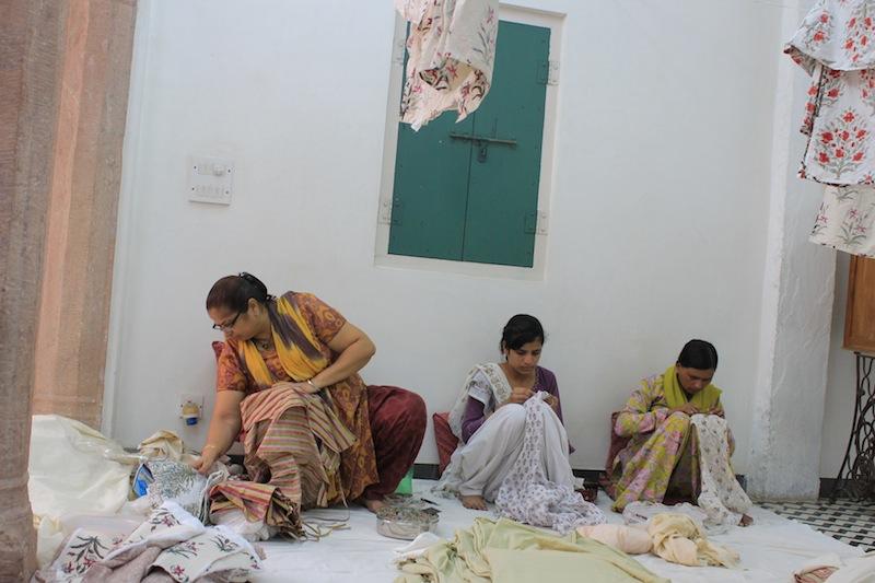 The hand stitching at Brigitte Singh's studio.