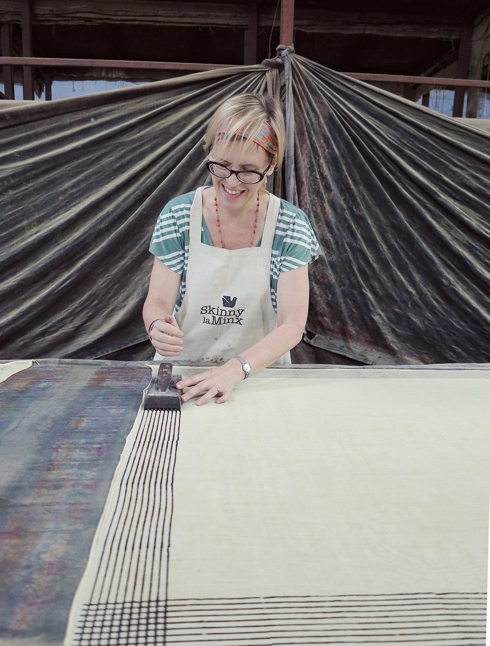 Heather Moore in Bagru, India