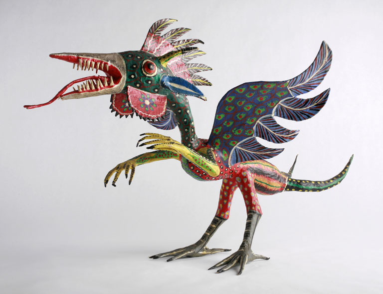 Alebrijes are brightly coloured Mexican folk art sculptures of fantastical creatures.