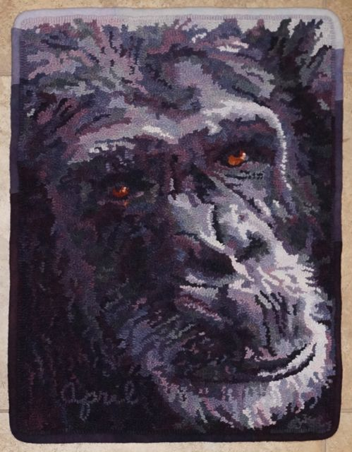 Charile 2013   Faces of the Houston Zoo Series   Published in  Rug Hooking Magazine  August 2013