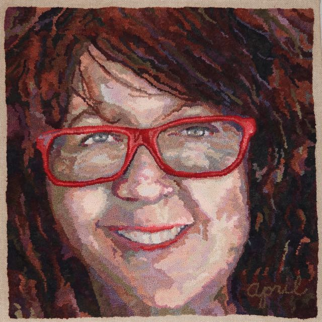 "Red Glasses 2016. 30""x30"". Hand-dyed wool on linen.  Designed, dyed and hooked by April D. DeConick."