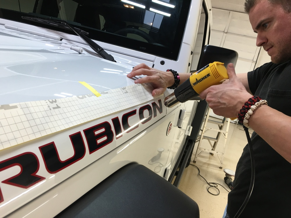 "Removing ""RUBICON"" lettering via heat"