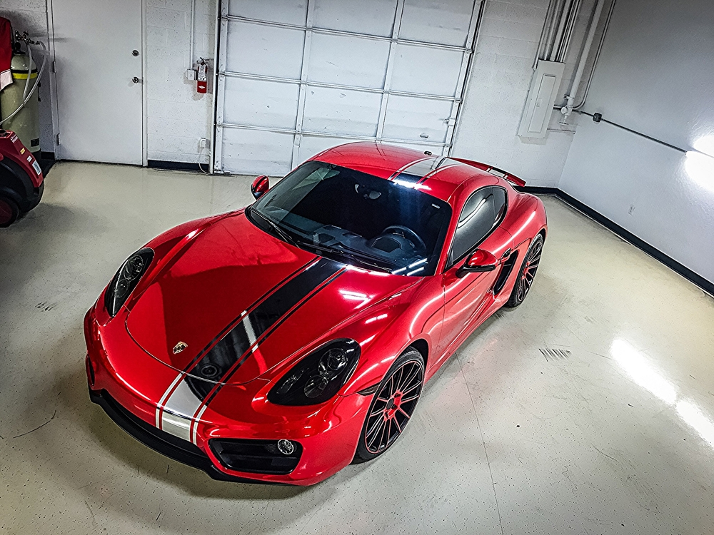 Ceramic Car Wax >> Porsche Cayman in for a Full Avery Red Chrome Vinyl Wrap ...
