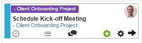 A Task Card with the Project Name displayed as a Label.