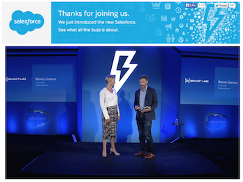 Blakely introducing Lightning as an AppExchange Partner at the live Salesforce announcement in August. (Around the 58 min mark)