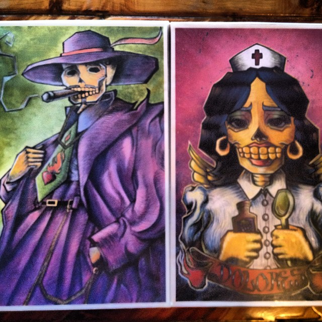 The prints for best dressed guy and gal. Let's party. #elcaminocantina #taos #newmexico #party #contest #art