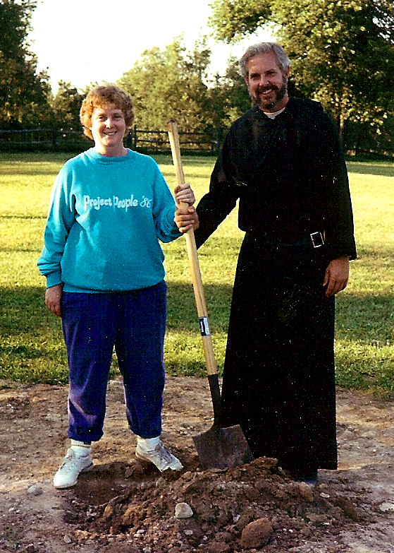 Fr. Dan Homan and Mary Cummings  Breaking Ground for New Retreat House