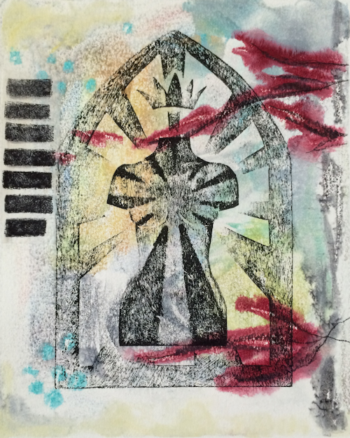 """The Queen's Mirror"" - monoprint (encaustic, ink, collage) by  Dawn Blanchfield 2014"