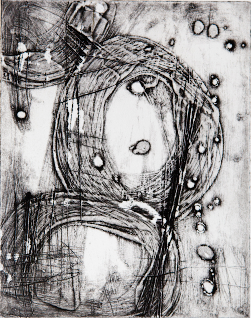 "Wax collagraph with Akua ink 8""x10"""
