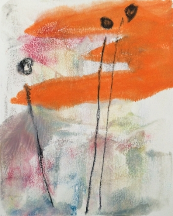 """Rise"" Encaustic monotype. 2014"