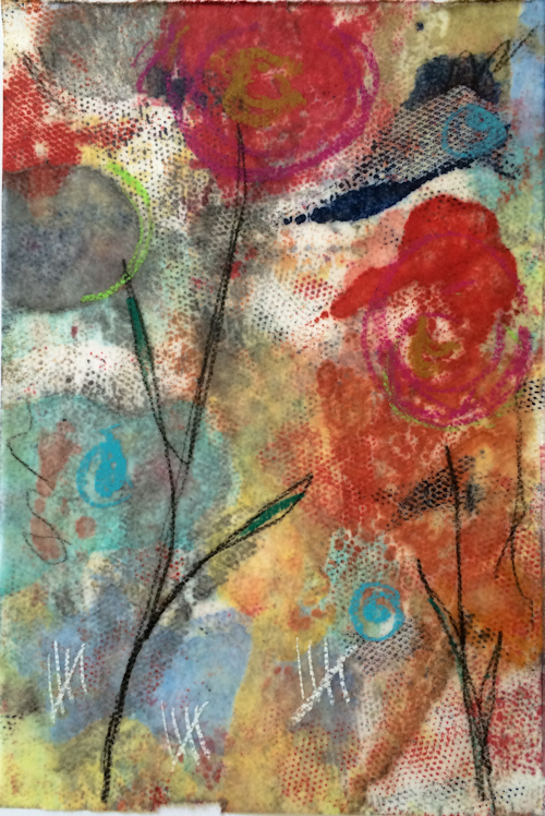 "Encaustic monotype. 6""x9"" on rice paper."