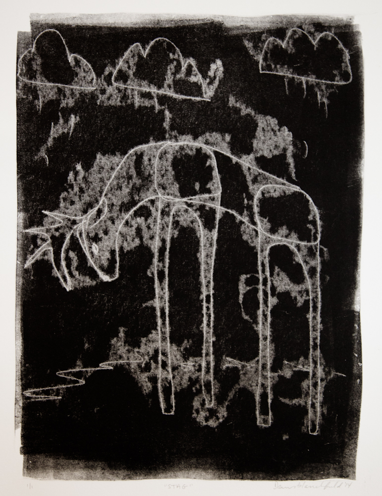 Trace monotype ghost print. Akua ink on BFK Rives paper.