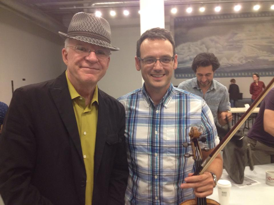 "With Steve Martin during rehearsals for ""Bright Star"""