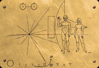 This is the plaque that NASA put on the Pioneer 10 and Pioneer 11 spacecraft in order to communicate the origin of the spacecraft to an alien civilization.