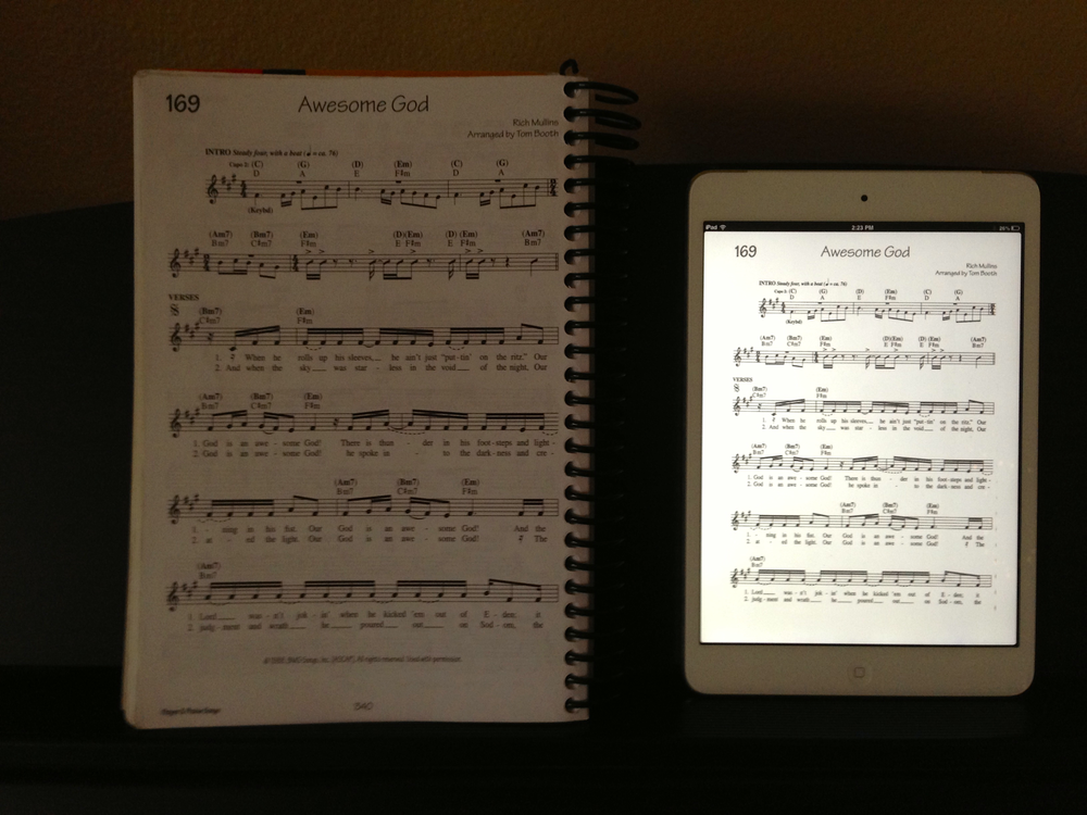 "Example sheet music from a 9"" x 7"" music book in PDF form on the iPad mini"